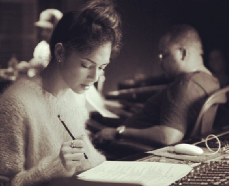Nicole Scherzinger in the studio