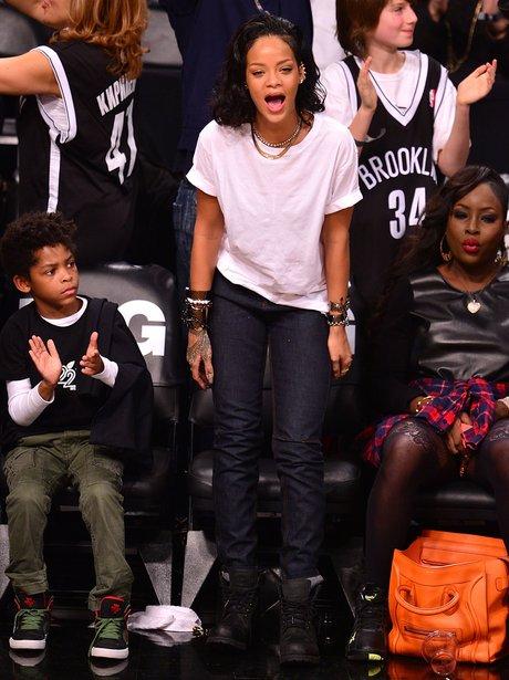 Rihanna watching basketball in Brooklyn