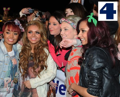 Little Mix pose with some of their fans