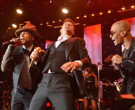 Pharrell, Robin Thicke, T.i performing