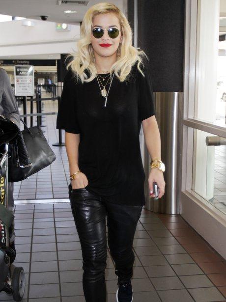 Rita Ora arriving at the airport