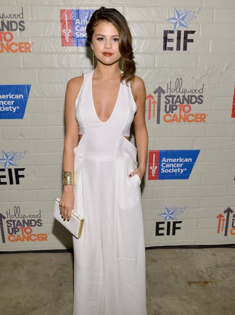 Selena gomez at even wearing long white dress