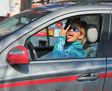 Rita Ora learning to drive in LA