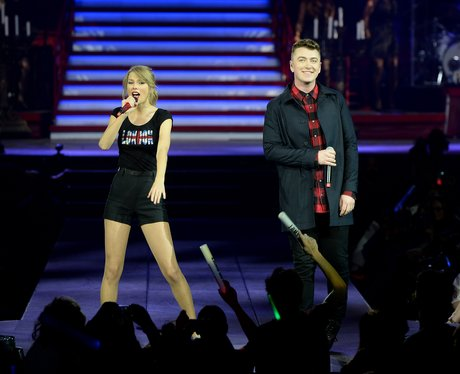 Taylor Swift and Sam Smith on stage in London
