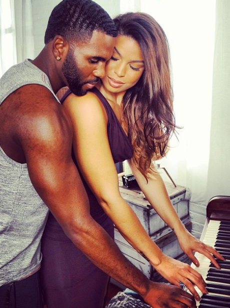 Jason Derulo and Jordan Sparks play piano together