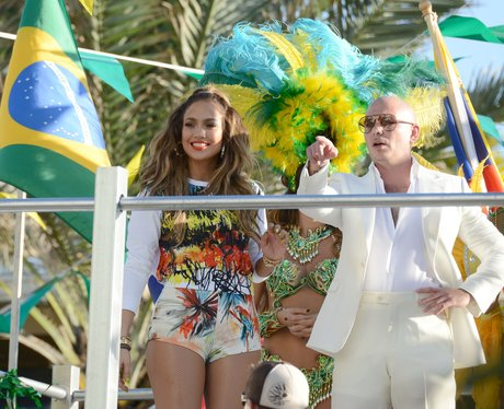 Jennifer Lopez films the new World Cup music video