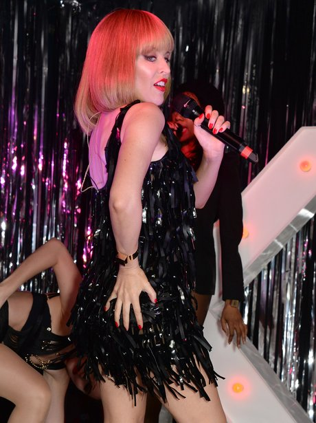Kylie Minogue performing at a secret gig