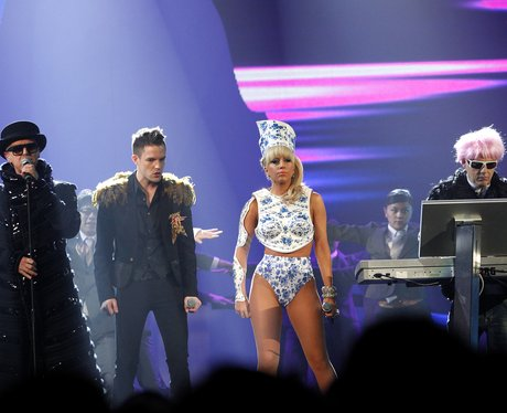 Lady Gaga and Pet Shop Boys at the BRITs 2010