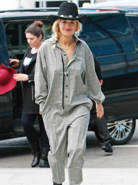 Rita Ora wearing a jumpsuit