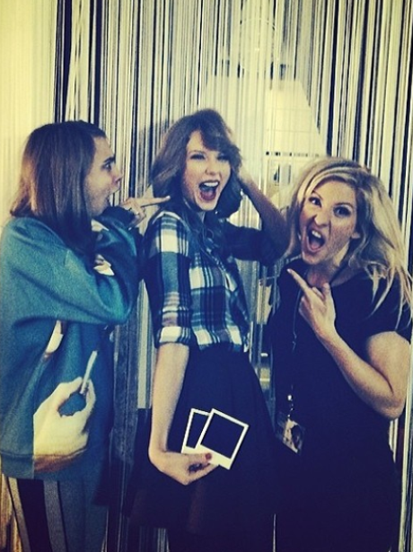 Taylor Swift, Ellie Goulding and Cara Delevigne on the Red Tour