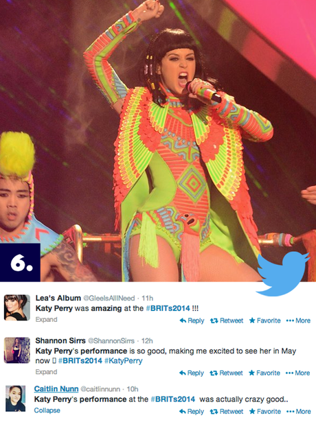 Katy Perry performing at the BRIT Awards 2014 on Twitter