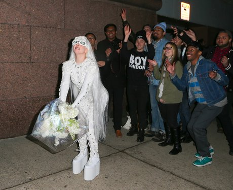 Lady Gaga throws bouquet to her little monsters