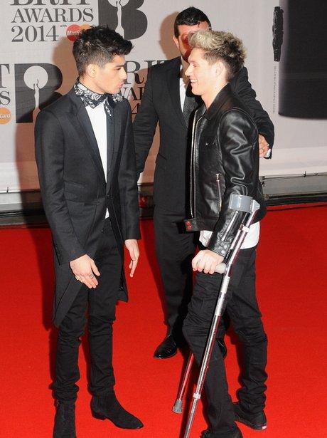 Niall Horan Crtuches BRIT Awards 2014
