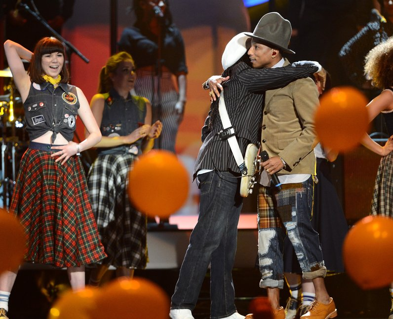 Pharrell and Nile Rogers BRIT Awards 2014 Performa