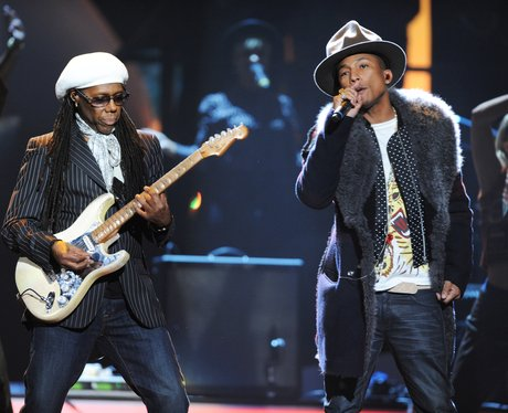 Pharrell Williams and Nile Rodgers rehearsing