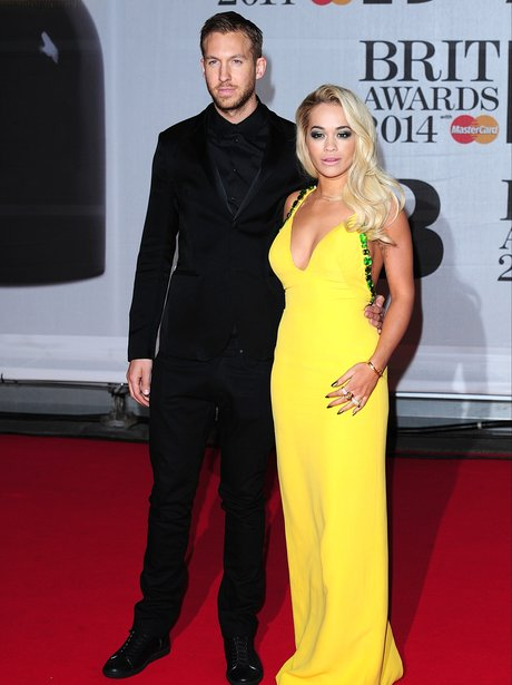 Rita Ora and Calvin Harris BRIT Awards 2014 Red Ca
