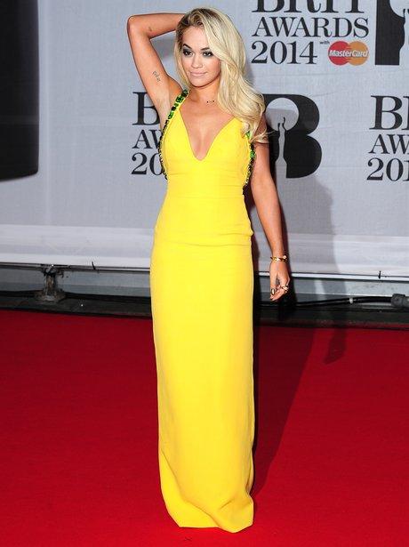 Rita Ora BRIT Awards 2014 Red Carpet
