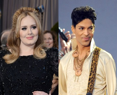 Adele in black dress and Prince in white dress