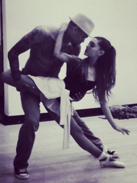 Chris Brown and Ariana Grande in rehearsals