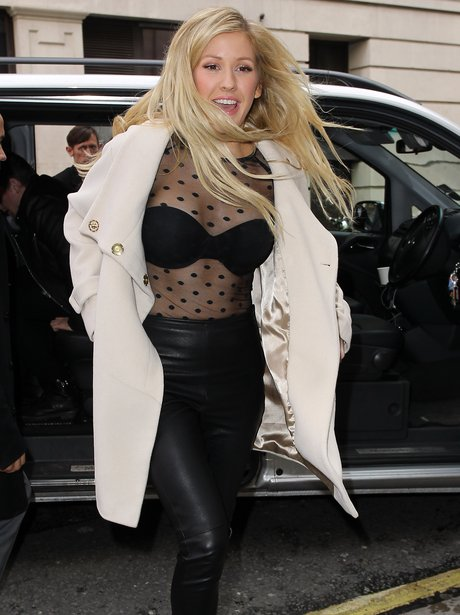 Ellie Goulding wearing a revealing top