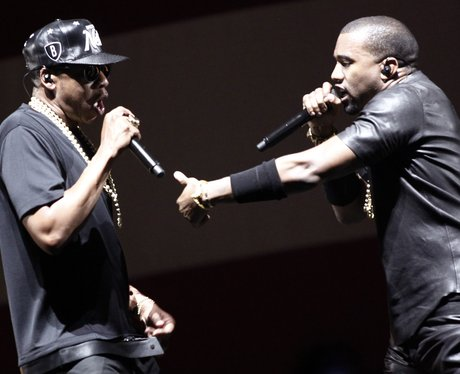 Jay Z and Kanye West on stage