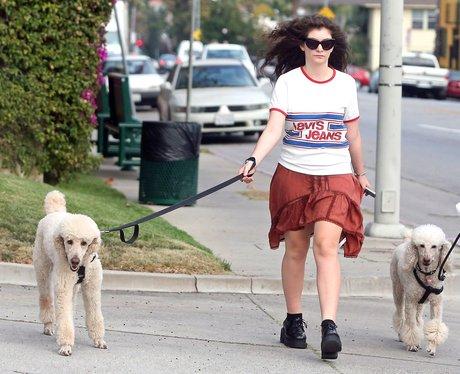Lorde walking her dogs