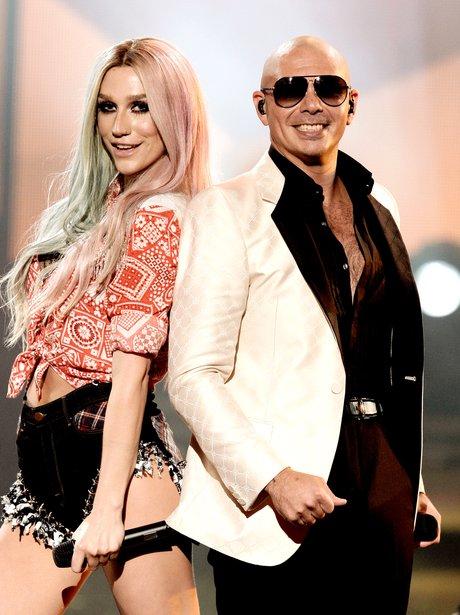 Pitbull and Ke$ha on stage