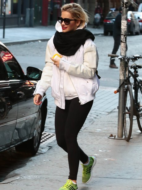 Rita Ora wearing exercise clothes in New York