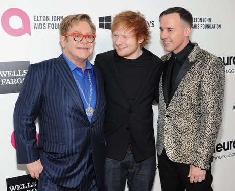 Elton John and Ed Sheeran Oscars Party 2014