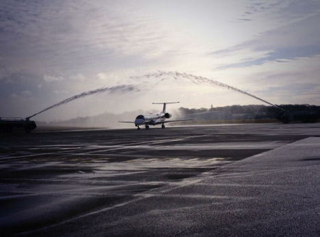 Newcastle Airport Plane Water Guard Of Honour
