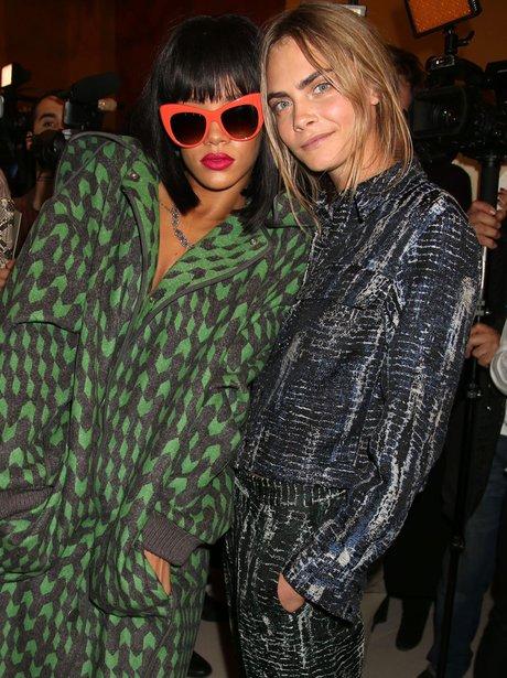 Rihanna and Cara Delevingne Paris Fashion Week 201