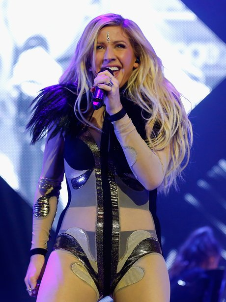 Ellie Goulding live on stage in a see-through outf