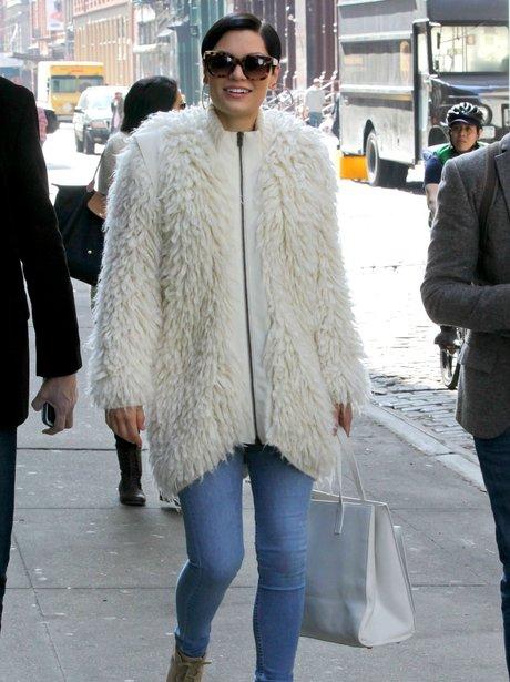 Jessie J wearing a white coat in New York