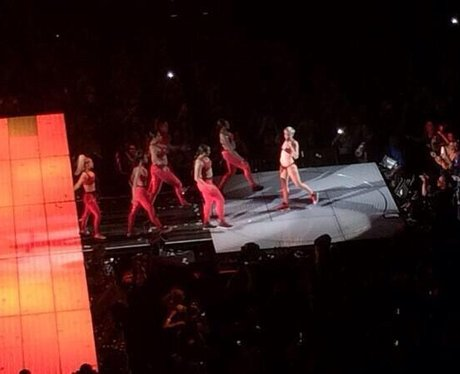 Miley Cyrus performs in her bra knickers