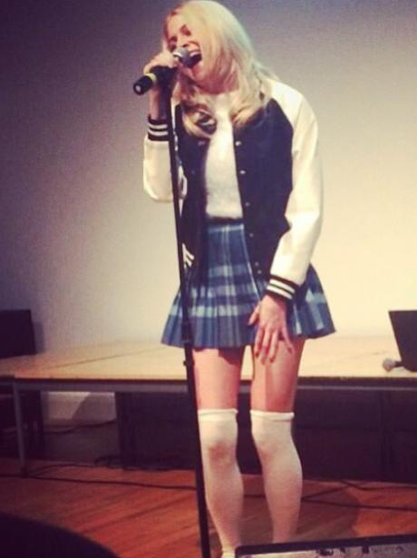 Pixie Lott perfomrs at school assembly