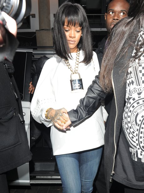 Rihanna wearing a chanel padlock necklace