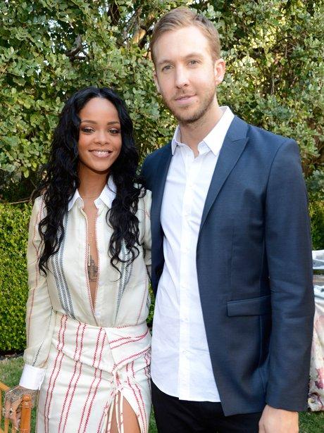 Calvin Harris and Rihanna at a Roc Nation party