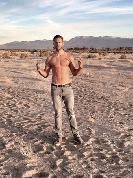 Calvin Harris on the set of his 'Summer' music video