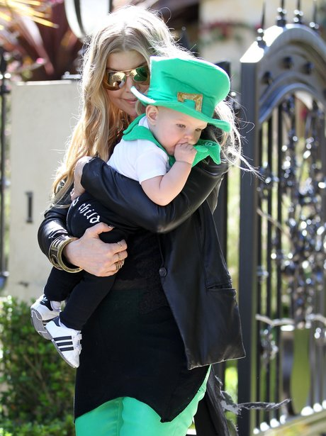 Fergie with her little boy on st patrick's day