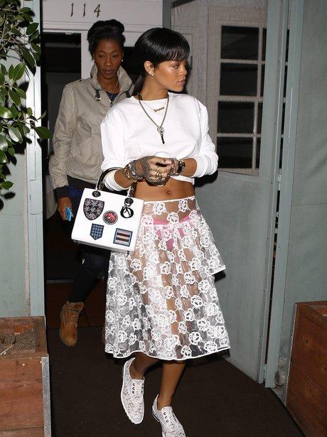 Rihanna wearing a see-through skirt