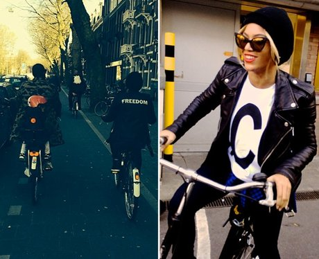Beyonce and Jay Z on a bike ride