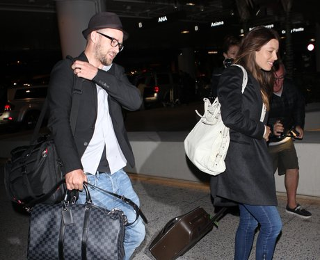 Justin Timberlake and Jessica Biel at the airport