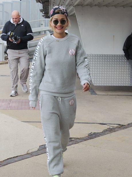 Rita Ora wearing a tracksuit