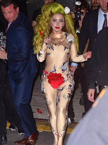 Lady Gaga wearing a bodysuit