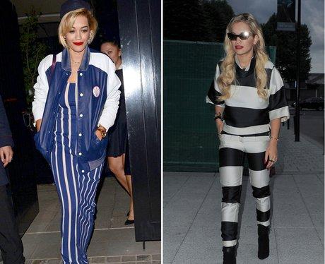 Rita Ora Fashion: Stripes