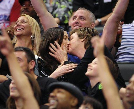 "Sir Paul McCartney and Nancy Shevell kiss for ""kis"