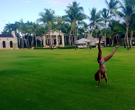 Beyonce doing a hand stand