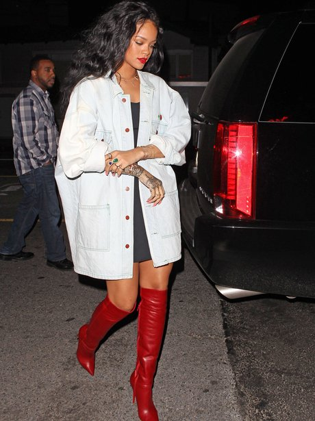 Rihanna wearing red leather boots