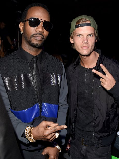 Juicy J and DJ Avicii backstage at the 2014 iHeart