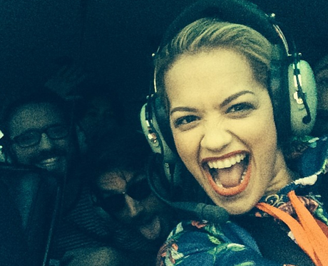 Rita Ora in a helicopter
